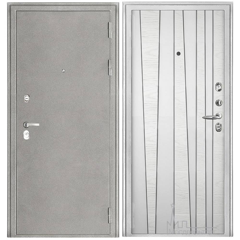 Входная дверь Колизей белая, панели шпон дуба