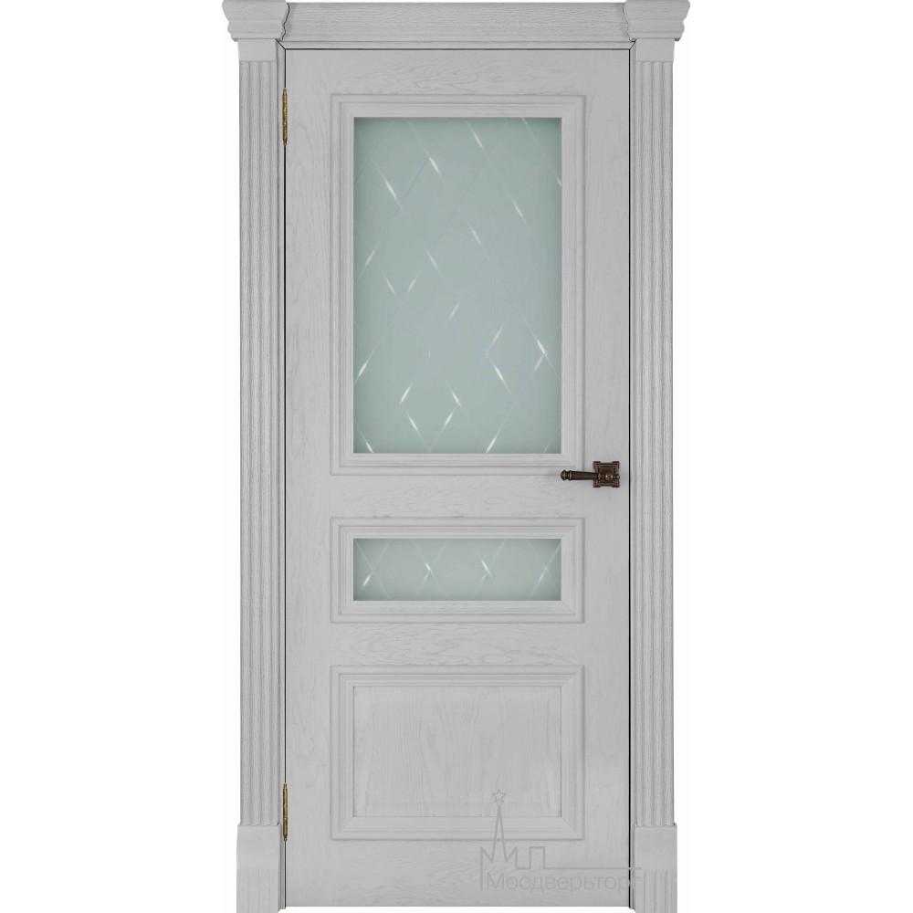 Межкомнатная дверь Барселона, дуб Perla, стекло