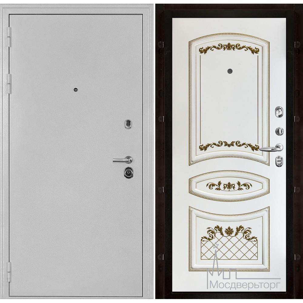 Колизей белое серебро панель Алина белая эмаль + патина золото