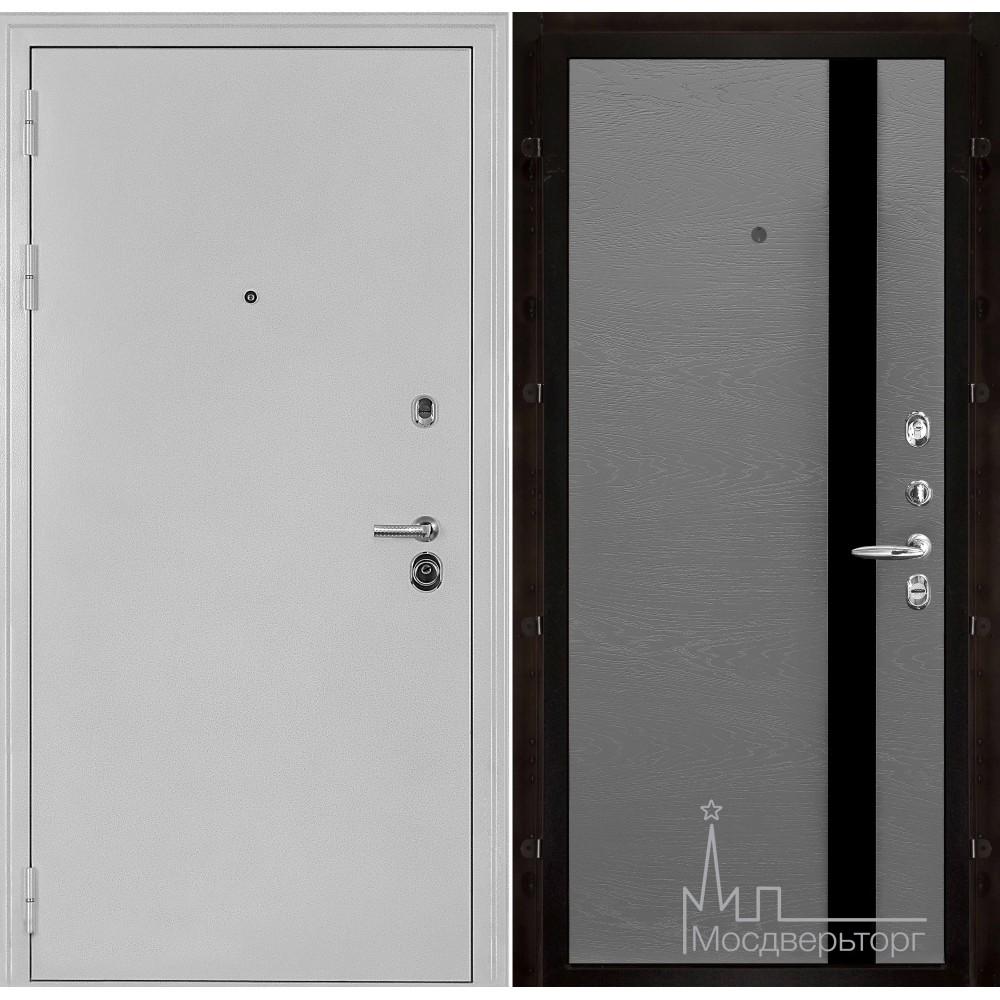 Входная дверь Колизей белое серебро панель Уно Гриджио