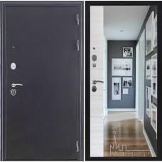 Входная дверь Спартак зеркало панорама, антик темное серебро