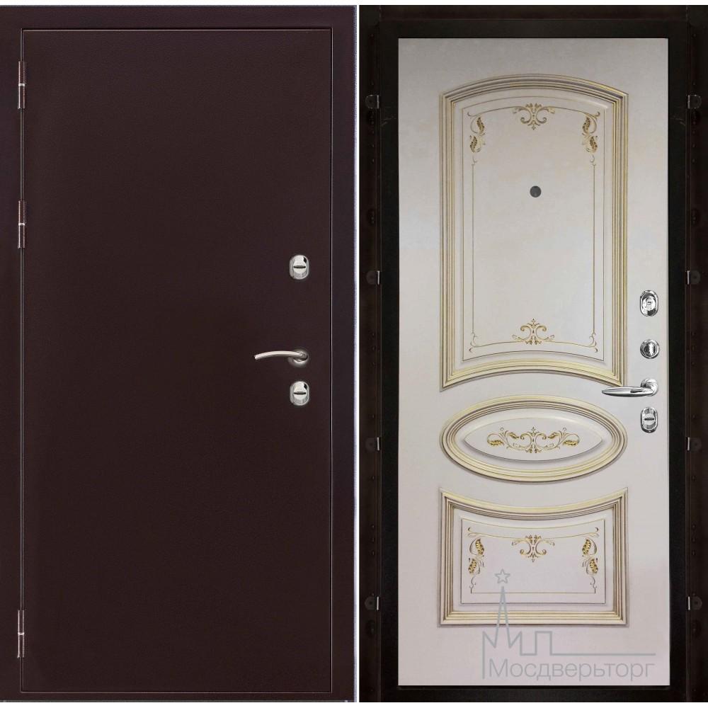 Термо-3 медный антик панель Багет 3, эмаль слоновая кость патина золото