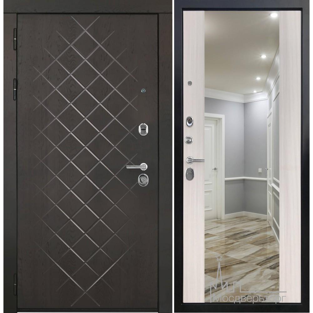 Входная дверь Президент-Люкс с зеркалом  ПВХ сандал белый