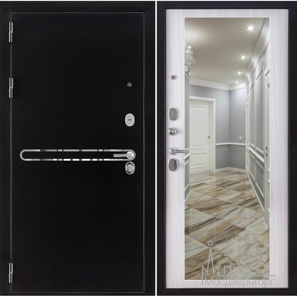 Входная дверь Президент с зеркалом белый сандал