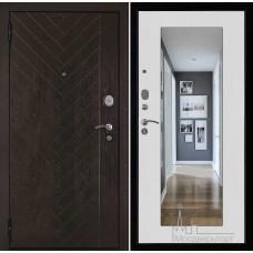 Входная дверь Вектор лофт с зеркалом ясень белый