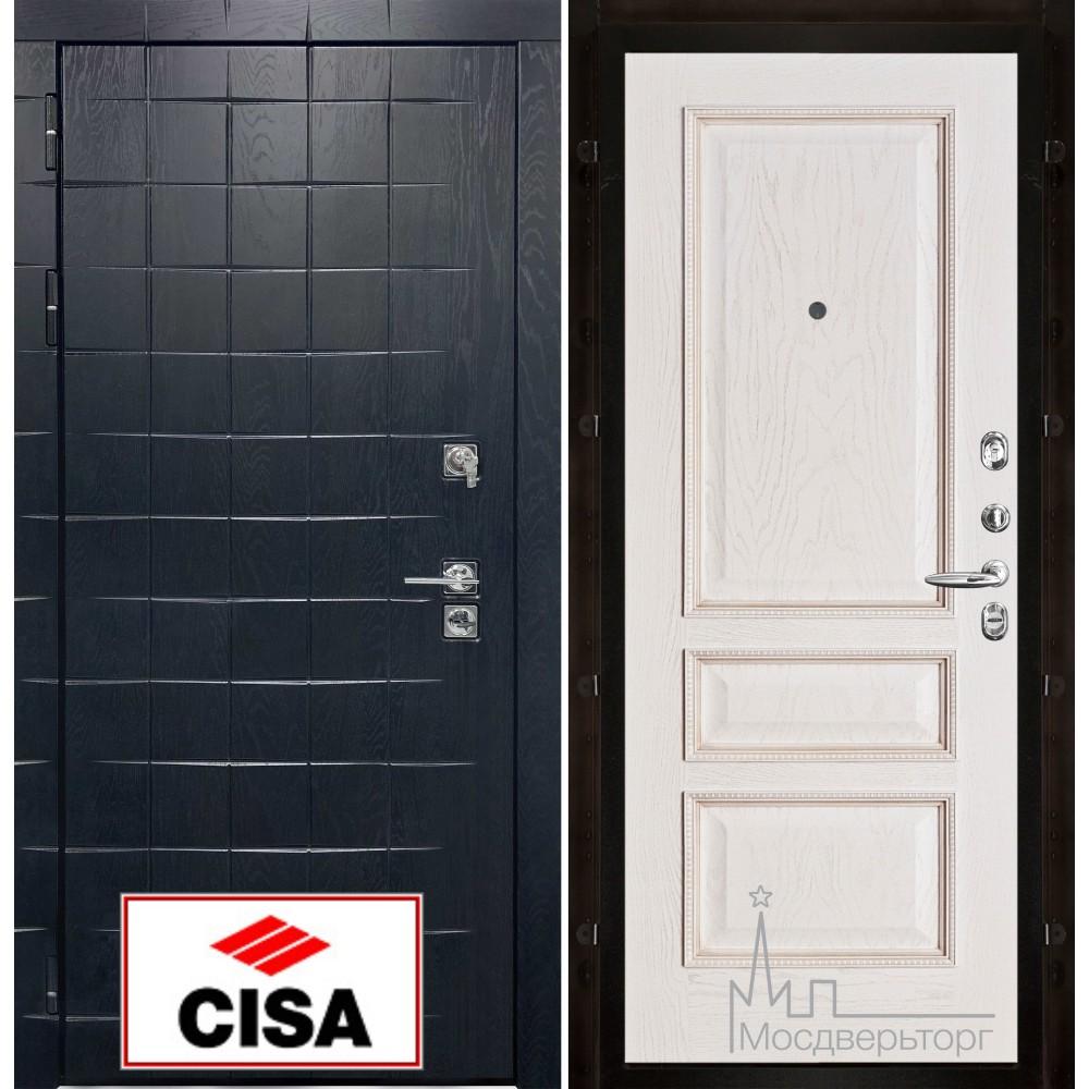 Сенатор-плюс, с замком Cisa панель Вена белая патина тон 17 натуральный шпон
