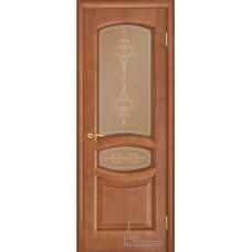 Межкомнатная дверь Анастасия тёмный анегри тон 74 стекло