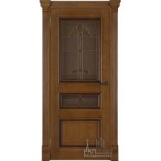 Межкомнатная дверь Барселона, дуб патина Antico, стекло
