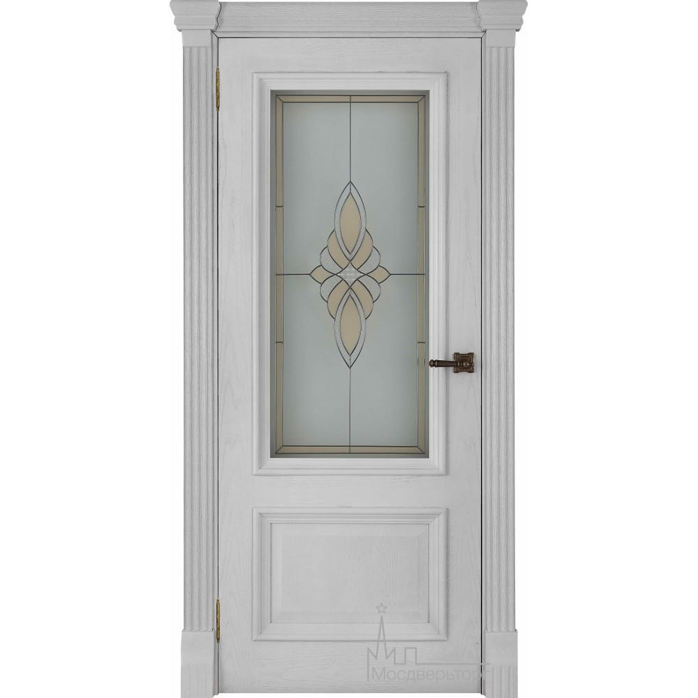 Межкомнатная дверь Корсика, дуб Perla, стекло