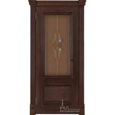 Межкомнатная дверь Корсика, дуб Brandy, стекло