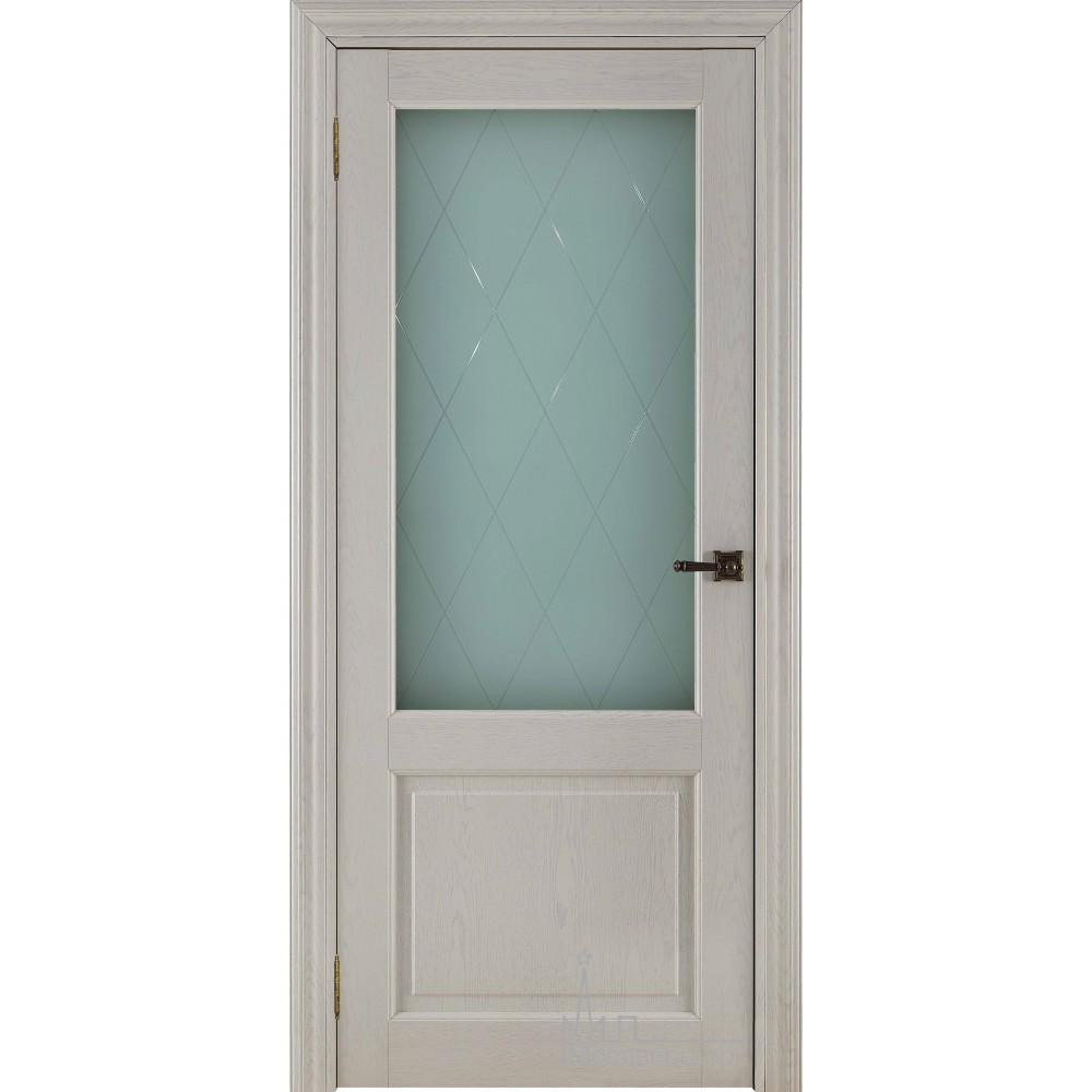 Межкомнатная дверь Экошпон 40004 Ясень перламутр, стекло