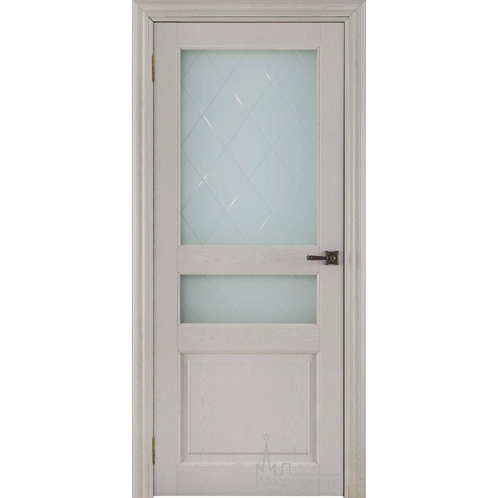 Межкомнатная дверь Экошпон 40006 Ясень перламутр, стекло