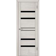 Межкомнатная дверь Экошпон 30030 капучино велюр (черное стекло)