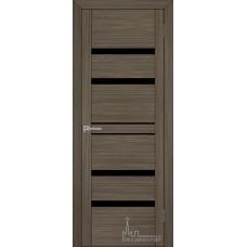 Межкомнатная дверь Экошпон 30030 графит велюр (черное стекло)