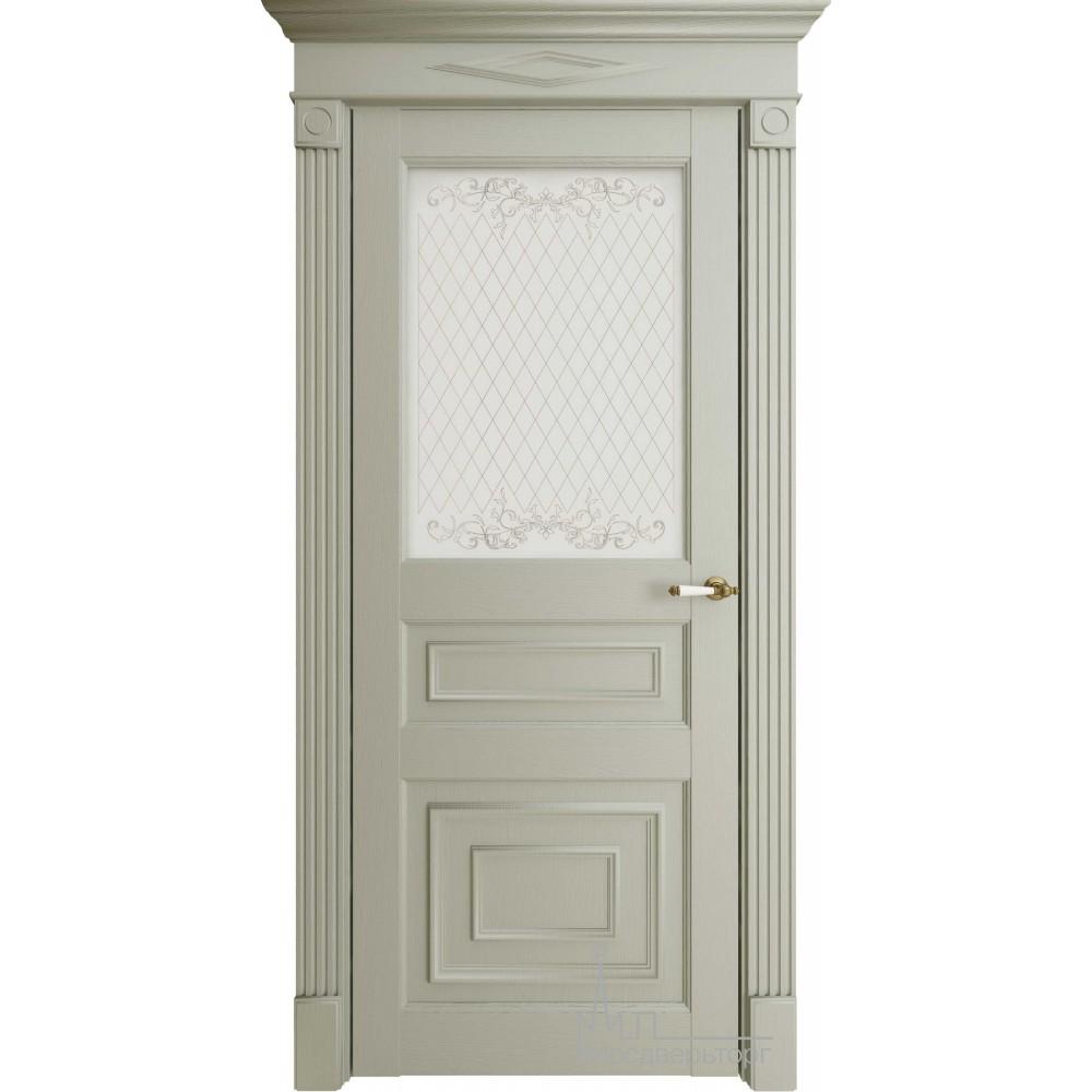 Межкомнатная дверь Экошпон  62001 серая стекло