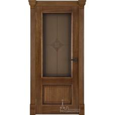 Межкомнатная дверь Гранд-1 дуб патина Антико стекло
