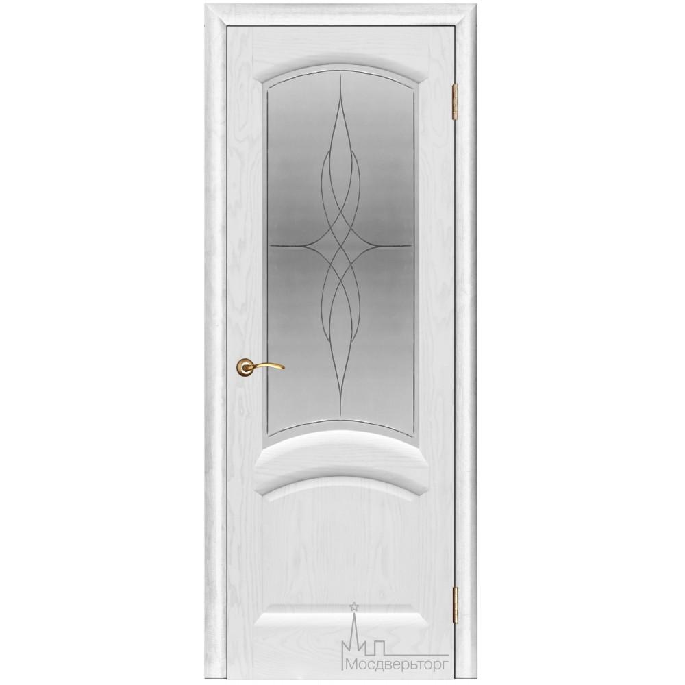 Межкомнатная дверь Лаура ясень жемчуг стекло
