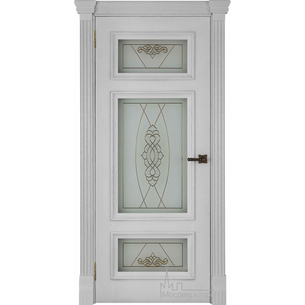 Межкомнатная дверь Мадрид, дуб Perla стекло