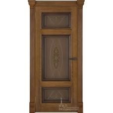 Межкомнатная дверь Мадрид, дуб патина Antico, стекло