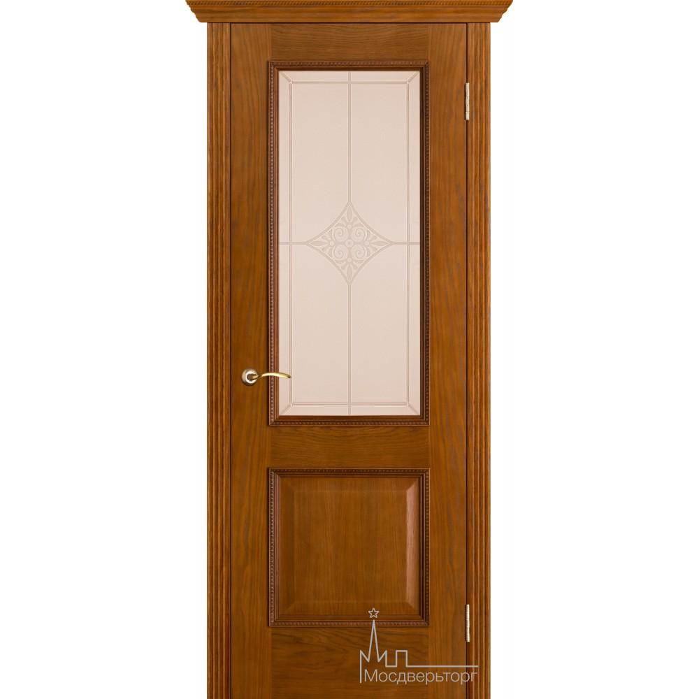 Межкомнатная дверь Шервуд античный дуб стекло ромб