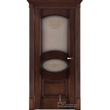 Межкомнатная дверь Соло орех тон 7, стекло бронза натуральный шпон