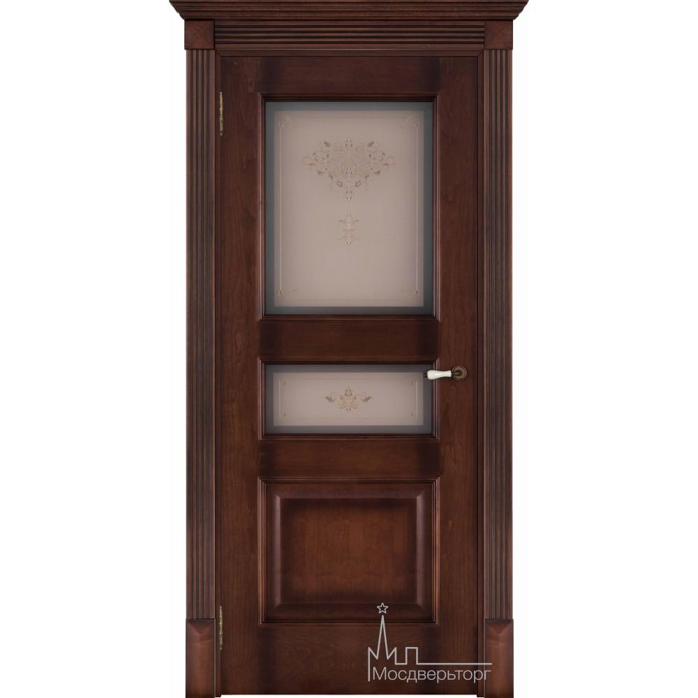 Межкомнатная дверь Терзо орех тон 7, стекло бронза натуральный шпон