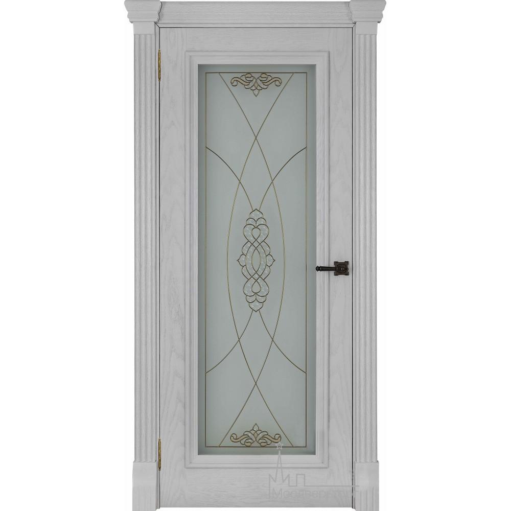 Межкомнатная дверь Тоскано, дуб Perla стекло