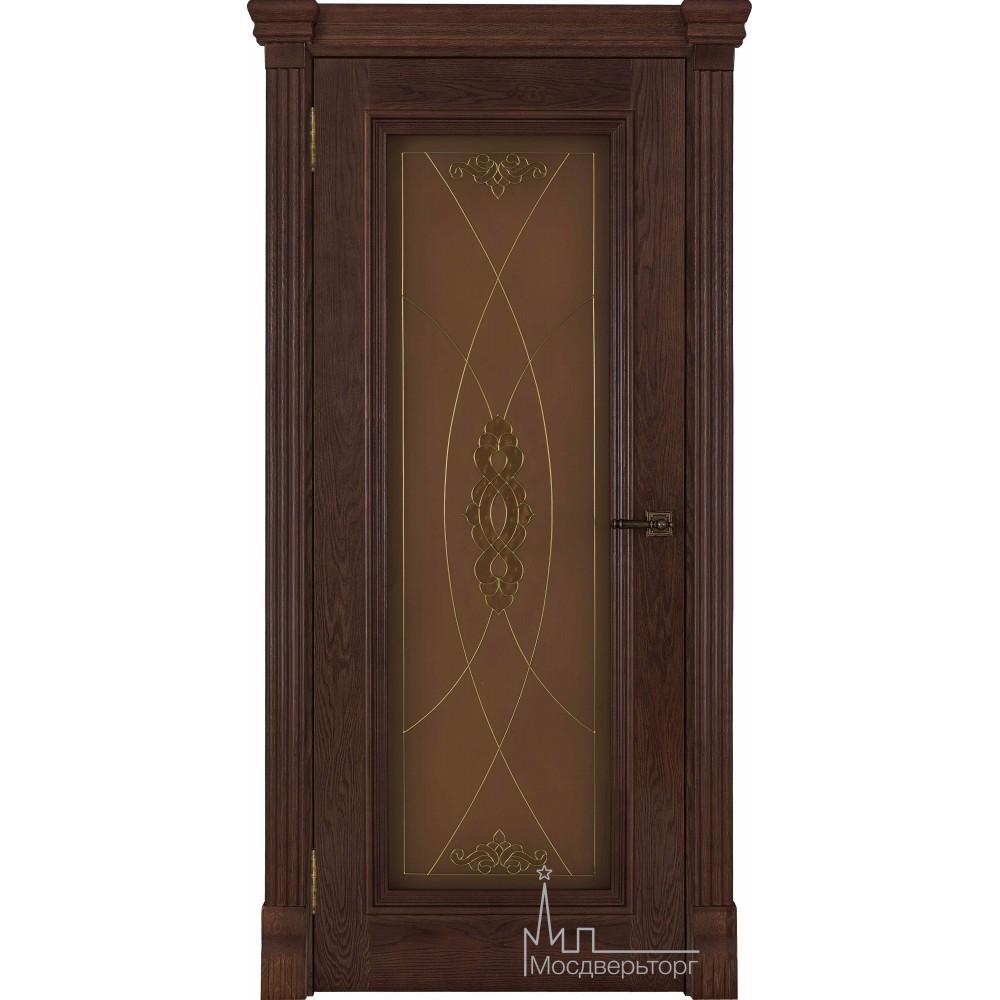 Межкомнатная дверь Тоскано, дуб Brandy стекло