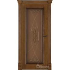 Межкомнатная дверь Тоскано, дуб патина Antico, стекло Мираж