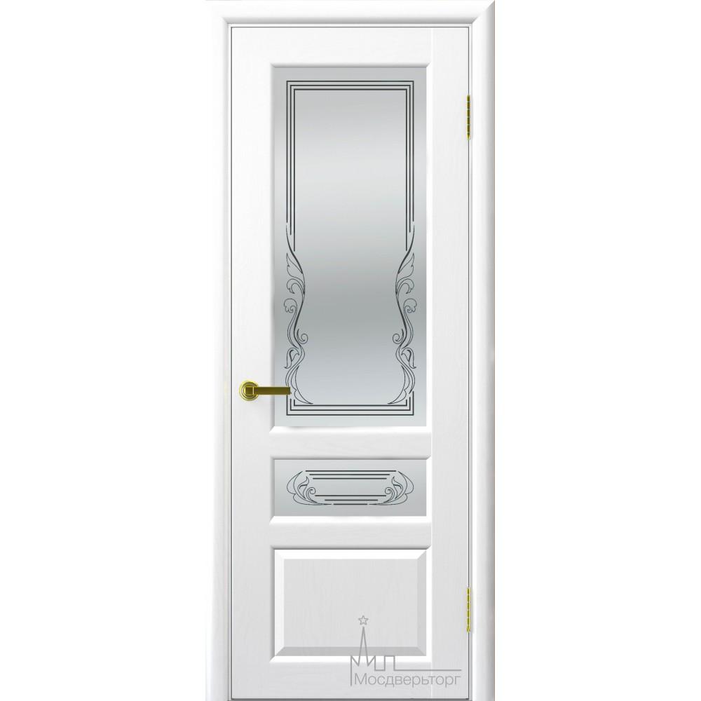 Межкомнатная дверь Валенсия-2 ясень жемчуг стекло