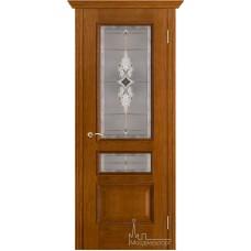 Межкомнатная дверь Вена белая патина стекло витраж