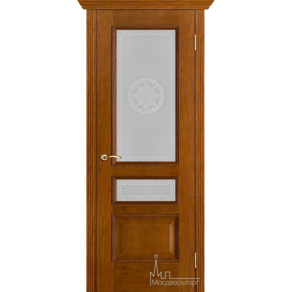 Межкомнатная дверь Вена античный дуб стекло Версаче