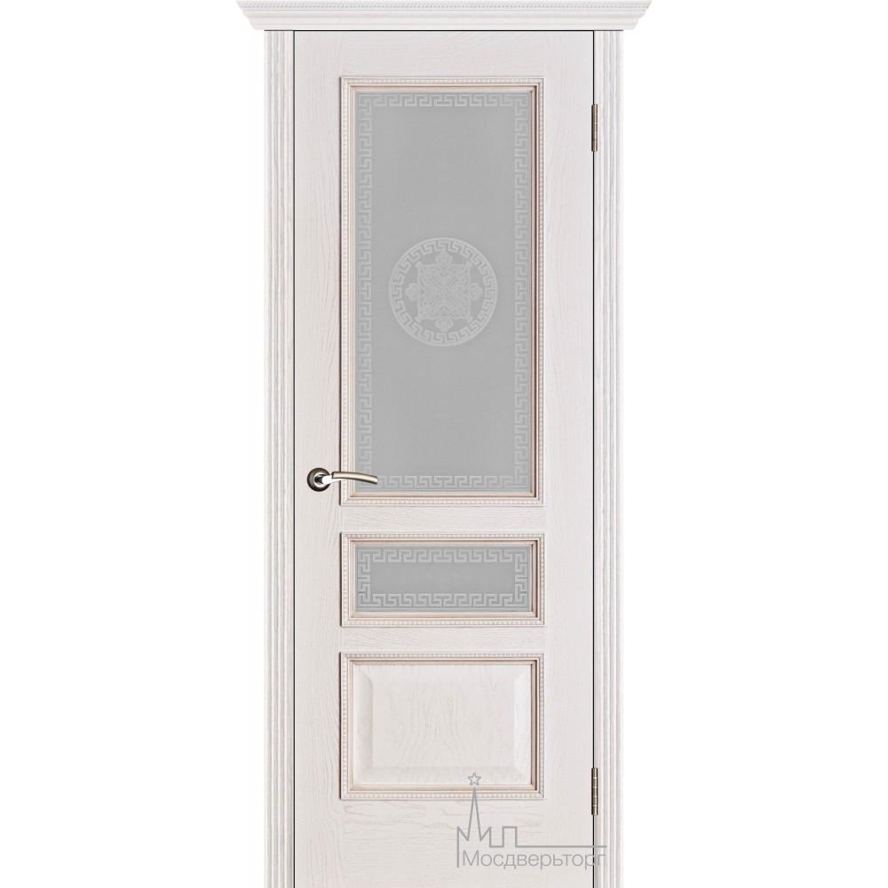 Межкомнатная дверь Вена белая патина  стекло Версаче