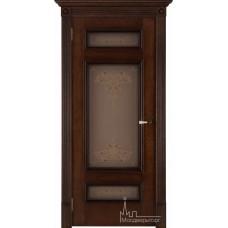Межкомнатная дверь Рим коньяк красный тон 19, стекло