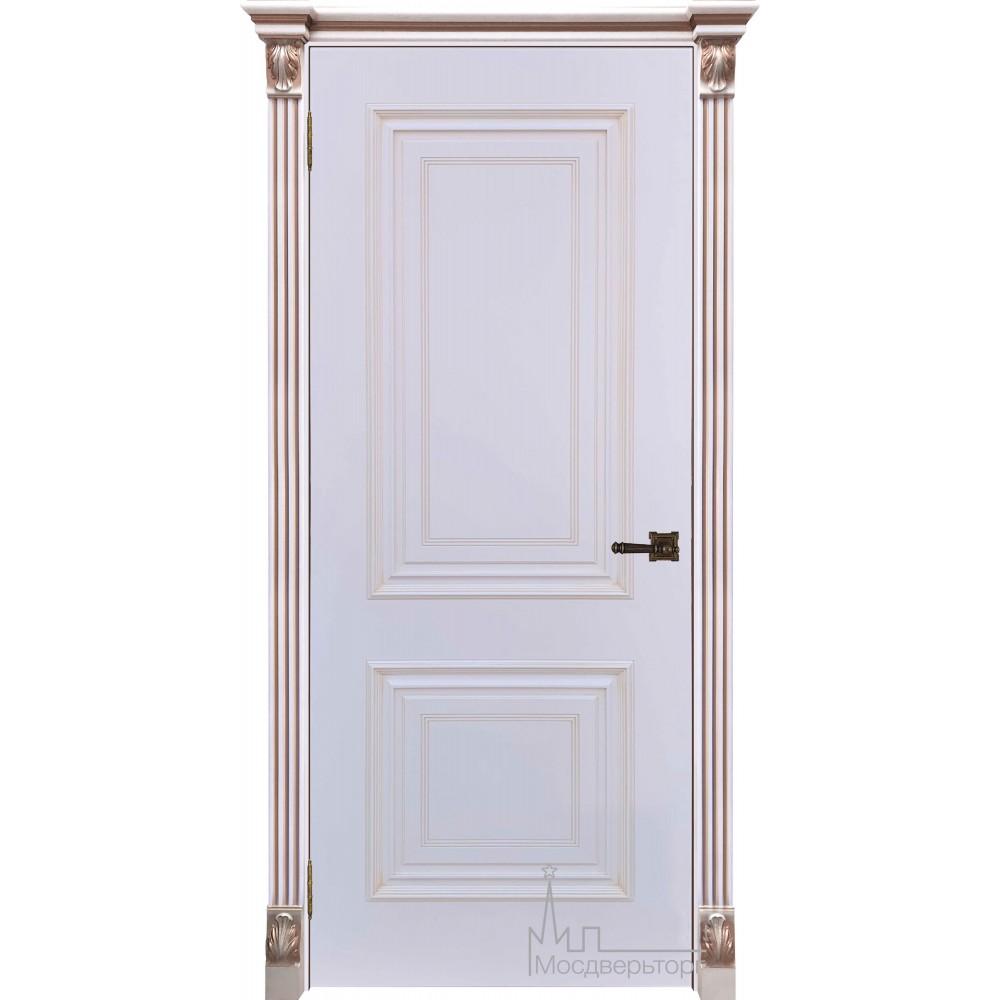 Итало Багет 30, эмаль белая, портал с цветочком патина капучино, глухая