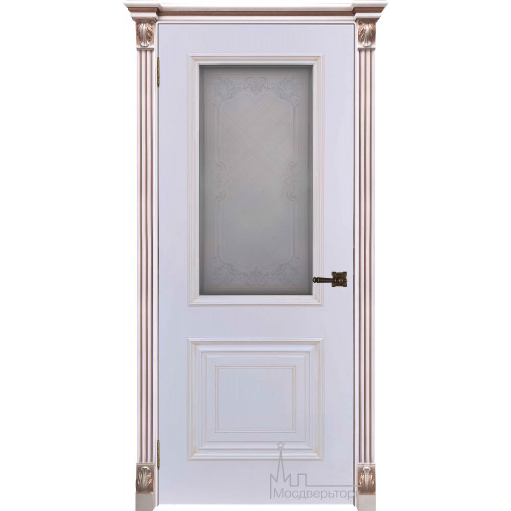 Итало Багет 30, эмаль белая, портал с цветочком патина капучино, стекло