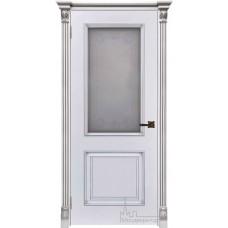 Итало Багет 32, эмаль белая, портал с цветочком патина серебро, стекло Итало