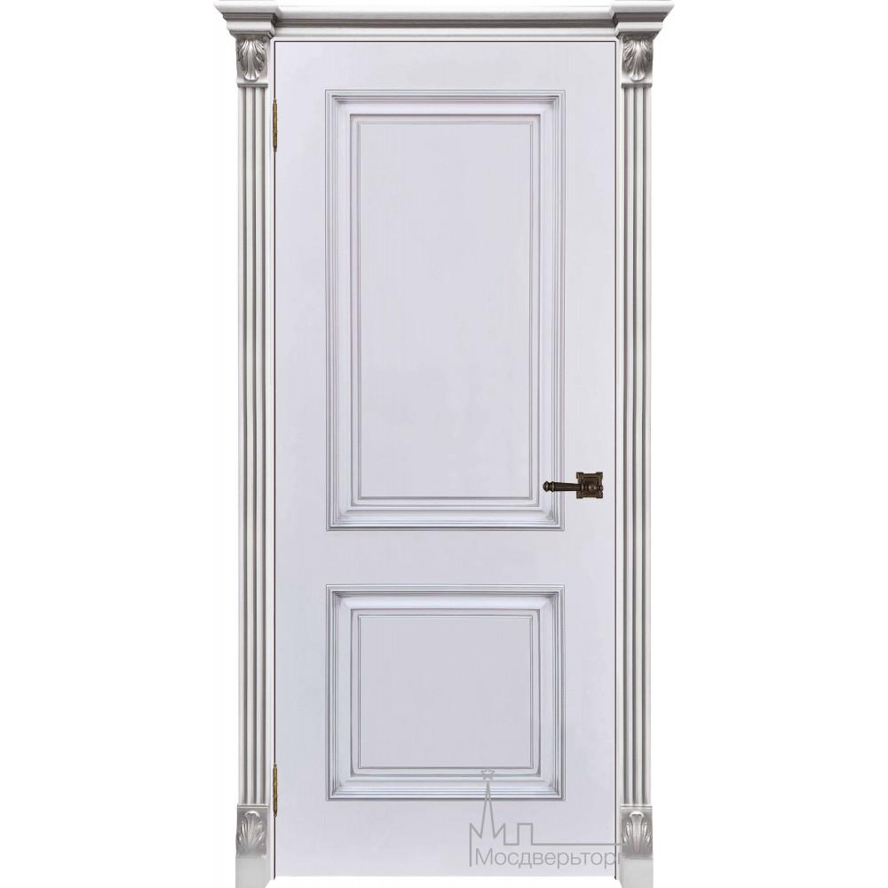 Итало Багет 32, эмаль белая, портал с цветочком патина серебро, глухая