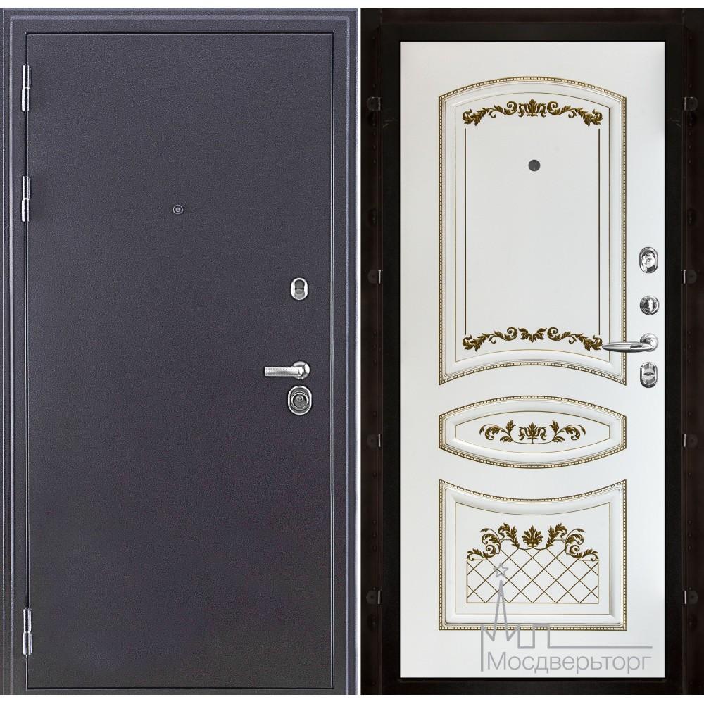 Колизей темное серебро панель Алина белая эмаль + патина золото