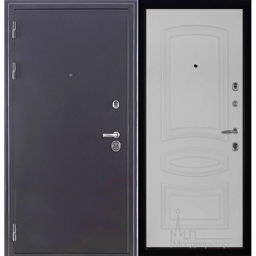 Входная дверь Колизей темное серебро панель Анастасия Белый ясень
