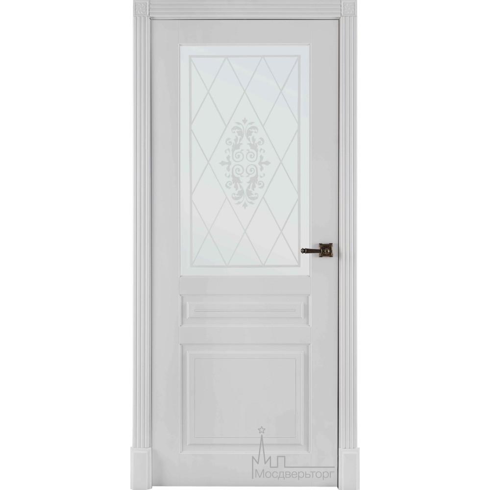 Межкомнатная дверь Турин белая эмаль (стекло)